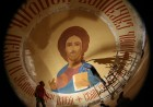 Painting the dome of the Cathedral of Christ the Saviour in Kaliningrad