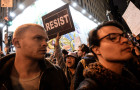 People rally against Donald Trump's election in New York