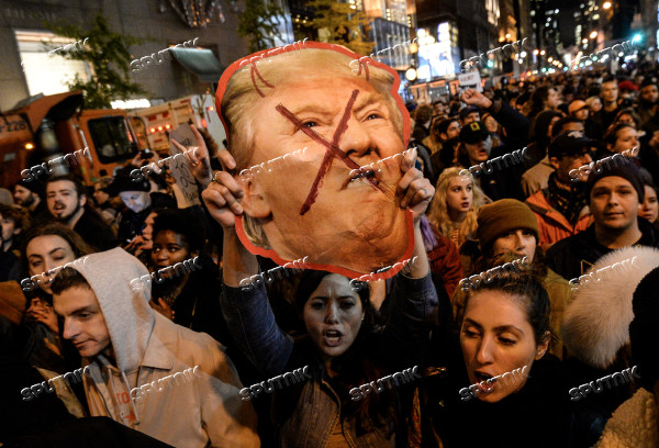 People in New York rally against Donald Trump's election