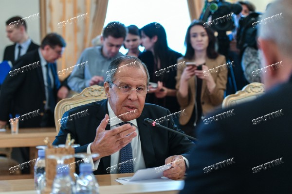 Russian Foreign Minister Sergei Lavrov meets with his South Ossetian counterpart Dmitry Medoyev