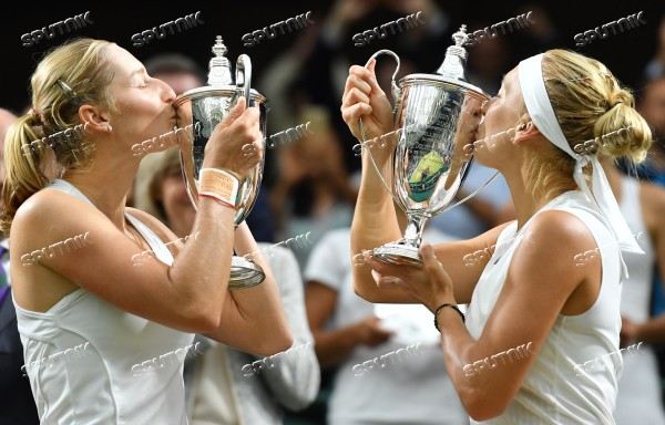 Russian tennis players Ekaterina Makarova and Elena Vesnina win Wimbledon women's doubles tournament