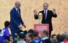 Russian President Vladimir Putin takes part in FIFA World Cup Trophy Tour kick-off ceremony in Luzhniki