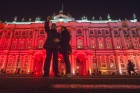 Storming of Winter Palace light show in St. Petersburg