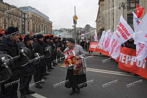 Russian Communist Party's march in Moscow