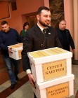 Submitting signatures in support of Sergei Baburin's registration as presidential candidate