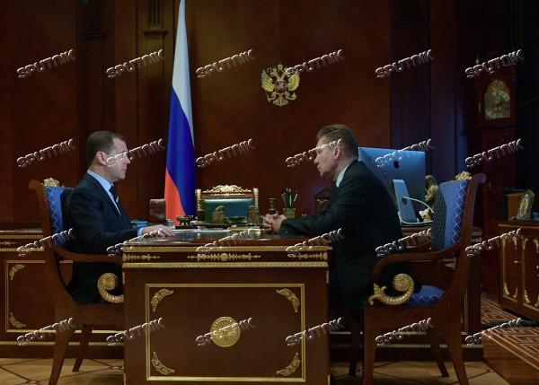 Russian Prime Minister Dmitry Medvedev meets with Gazprom CEO Alexei Miller