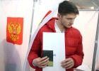 Members of Russian national football team vote at Russian presidential election