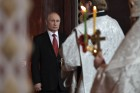 Russian President Vladimir Putin and Russian Prime Minister attend Easter service