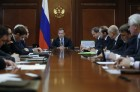 Russian Prime Minister Dmitry Medvedev meets with board members of Russian Union of Industrialists and Entrepreneurs