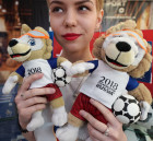 Shop selling merchandise of 2018 FIFA World Cup in Kaliningrad