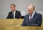 Russian President Vladimir Putin and candidate for Prime Minister Dmitry Medvedev attend State Duma plenary meeting