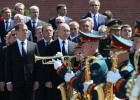 President Vladimir Putin and Prime Minister Dmitry Medvedev attend wreath-laying ceremony at Tomb of Unknown Soldier