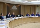 Russian Prime Minister Dmitry Medvedev holds a teleconference