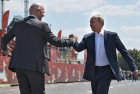 Russian President Vladimir Putin visits Football Park on Red Square