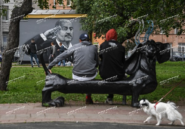 Cherchesov graffiti in St. Petersburg