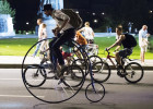 Night bicycle parade in Moscow