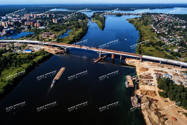 Construction of bridge across Volga River in Dubna