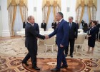 Russian President Vladimir Putin meets with President of the Republic of Abkhazia Raul Khadzhimba and President of South Ossetia Anatoly Bibilov