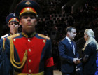 Russian Prime Minister Medvedev attends funeral service for Iosif Kobzon