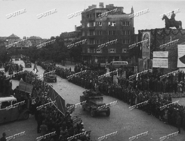 People of Sofia greet Soviet troops