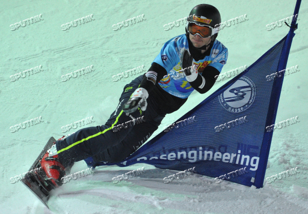 Snowboard World Cup Stage. Parallel Slalom