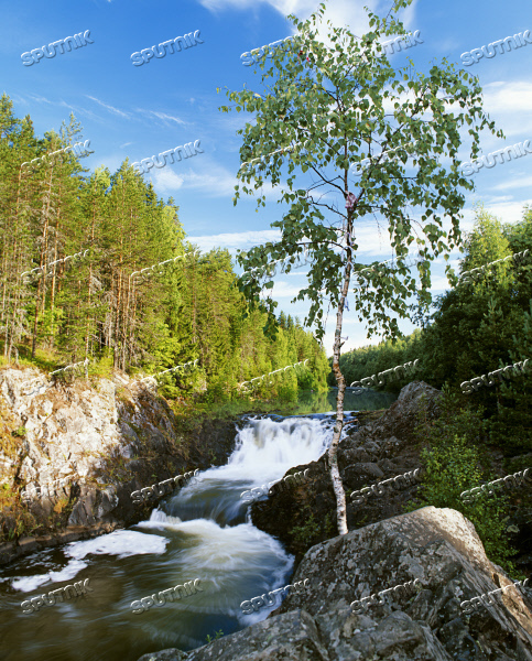 Kivach nature reserve waterfall Karelia