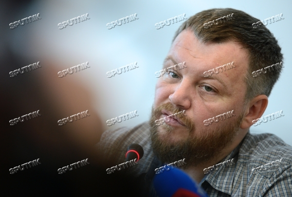 Andrei Purgin, co-chairman of Donetsk People's Republic government, gives news conference