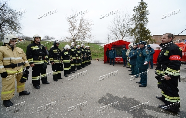 Russian Emergencies Ministry Holds Fire Drill At Hospital No