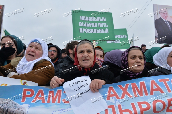 Rally in support of Ramzan Kadyrov in Grozny