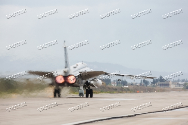 Russian Aerospace Forces aircraft is prepared for departure at Khmeimim Air Base in Syria