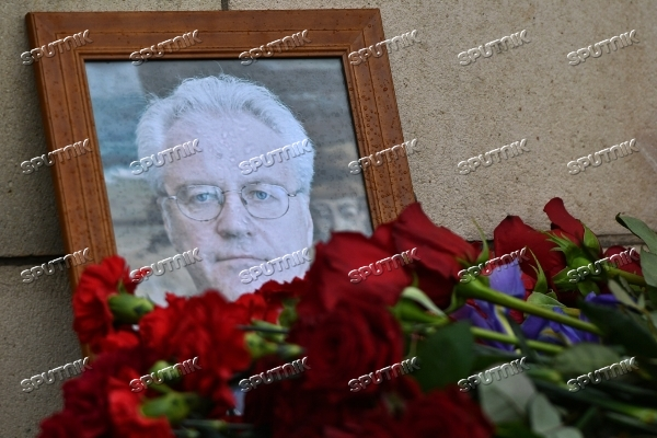 Flowers outside Russian Foreign Affairs Ministry on the death of Russia's ambassador to UN Vitaly Churkin