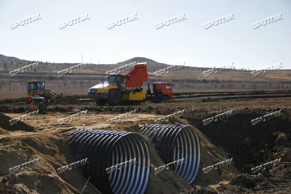 Approach road under construction to bridge across the Strait of Kerch