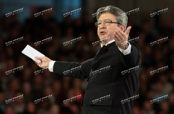 French presidential candidate Jean-Luc Melenchon holds rally in Lille