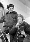 Cosmonauts Belyaev and Leonov being interviewed upon landing