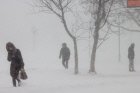 Winter storm in Sakhalin