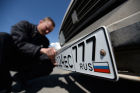 Issuing new vehicle registration plates in Simferopol
