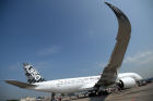 New passenger plane, Airbus A350 XWB, lands in Moscow's Sheremetyevo airport