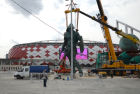 Installing Gladiator sculpture in the northern stands of Spartak stadium