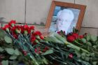 Flowers near the Russian Foreign Ministry building in connection with the death of Vitaly Churkin