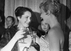 Actresses Elina Bystritskaya and Nicole Cyrille at first Moscow International Film Festival in 1959