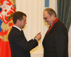 Russian President Dmitry Medvedev hands out state awards