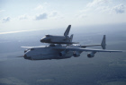 Antonov An-225 Mriya aircraft flies with Buran space shuttle