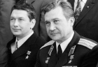 Soviet space pilots Boris Yegorov and Anatoly Philipchenko