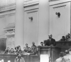 Vladimir Lenin speaking in meeting hall of Taurida Palace