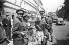 Prague residents and Soviet soldiers