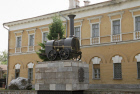 MONUMENT TO FIRST RUSSIAN STEAM LOCOMOTIVE