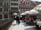 Café on bridge over Teplá River in Karlovy Vary