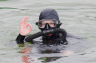 Practice session of divers, explosives experts at Lake Baikal