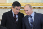 Vladimir Putin and Francois Fillon at joint news conference