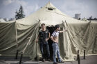 Tent camp for immigrants in Moscow